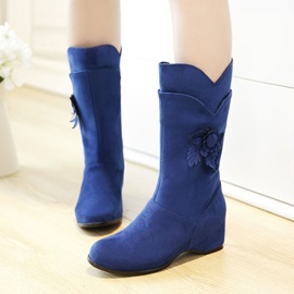 Solid Color Suede Wedge Heel Booties