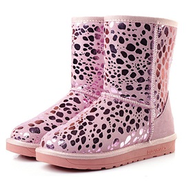 Leopard Printed Round Toe Winter Boots