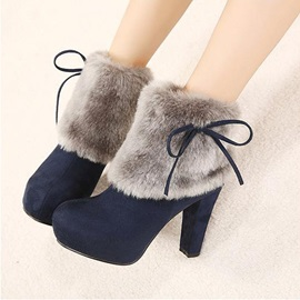 Faux Fur Bowtie Chunky Heel Ankle Boots