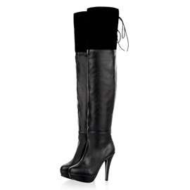 PU  Platform Thigh High Boots