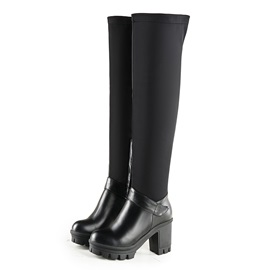 PU Patchwork Chunky Heel Thigh High Boots