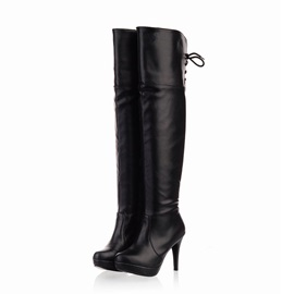 PU Lace-Up Back Over Knee Boots