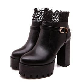 Lace  Wedge Sole Ankle Boots