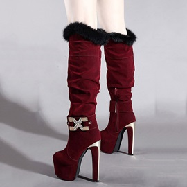 Purfle Suede Ultra-High Heel Knee High Boots
