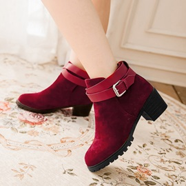 Suede Chunky Heel Buckles Ankle Boots