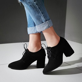Solid Color Chunky Heel Pointed Toe Ankle Boots