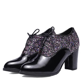 PU Sequins Chunky Heel Ankle Boots