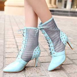 Rivets Mesh Patchwork Lace-Up Booties