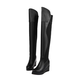 Suede Patchwork Elevator Heel Knee High Boots
