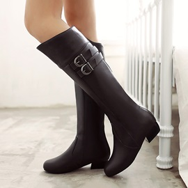 PU Buckles Square Heel Knee High Boots