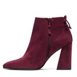 Suede Pointed Toe Chunky Heel Ankle Boots