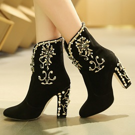 Retro Diamond Embellished Booties