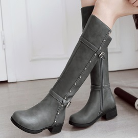 Studded PU Thread Riding Boots