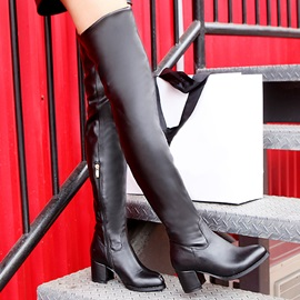 PU Chunky Heel Over Knee Boots