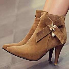 Bowtie Pointed Toe Suede Booties