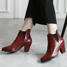 Retro PU Chunky Heel Slip-On Booties