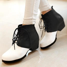 Black & White Mid-Heel Lace-Up Booties