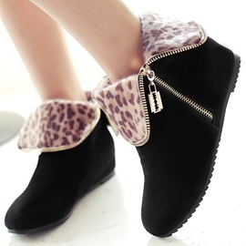 Leopard Printed Zippered Booties