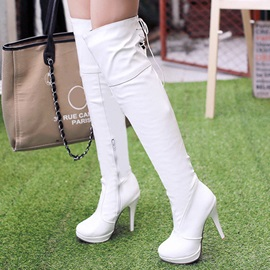 Solid Color Slim Platform Over Knee Boots