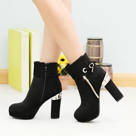 Suede Block Heel Zippered Booties