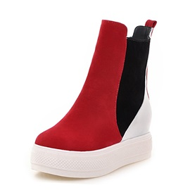 Contrast Color Slip-On Short Boots