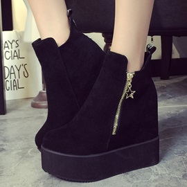 Suede Oblique Zipper Elevator Heel Booties
