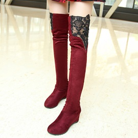 Lace  Round Toe Slim Wedge Boots