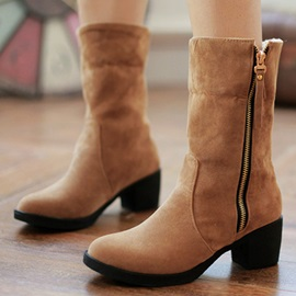 Faux Leather Zippered Chunky Heel Booties