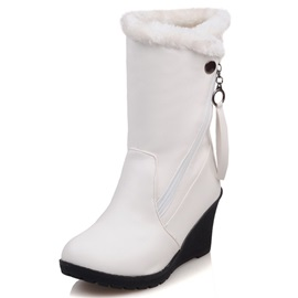 PU Side-Zipper Round-Toe Wedge Heel Boots