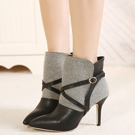 PU Patchwork Buckle Pointed Toe Martin Boots