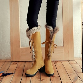 Suede Lace-Up Front Block Heel Snow Boots