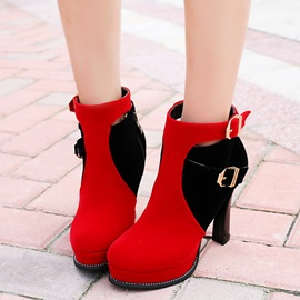 PU Side Zipper Platform Round Toe Ankle Boots
