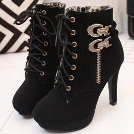 PU Zipper Thread Platform Stiletto Boots
