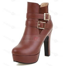 PU Slip-On Chunky Ultra-High Heel Ankle Boots