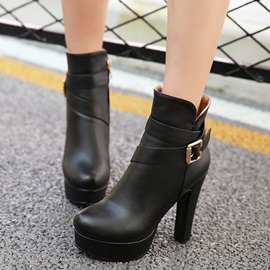 PU Side Zipper Thread Ultra-High Heel Boots
