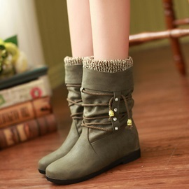 PU Slip-On Thread Ruched Boots