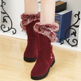 PU Side Zipper Platform Thread Chic Snow Boots