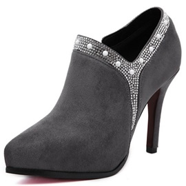 Suede Side Zipper Platform Rhinestone Stiletto Heel Ankle Boots