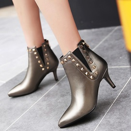 Rivet PU Back Zip Stiletto Heel Women;s Boots