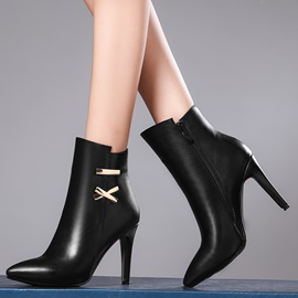 PU Side Zipper Stiletto Heel Women's Ankle Boots