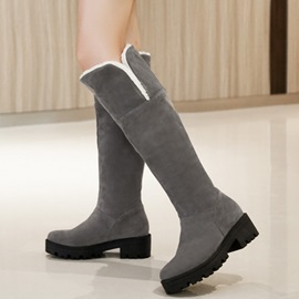 Simple PU Slip-On Flat Women's Knee High Boots