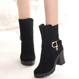 Cheap Suede Side Zipper Block Heel Women's Boots