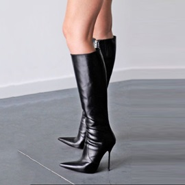 PU Side Zipper Black High Heel Women's Knee High Boots