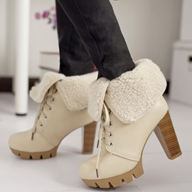 PU Lace-Up PUurfle Platform High Heel Women's Boots