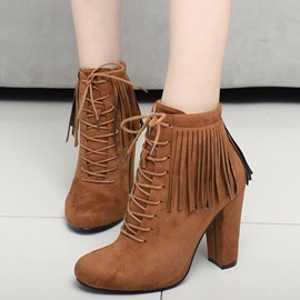 Suede Lace-Up Front Block Heel Women's Boots