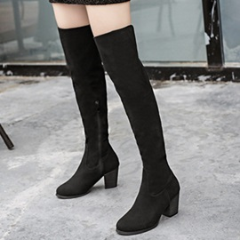 Suede Side Zipper Block Heel Thigh High Boots