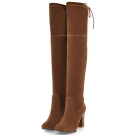 Comfy Suede Lace-Up Back Block Heel Thigh High Boots