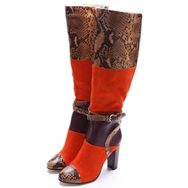 Printing Leather Color Block Boots
