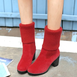 PU Slip-On Comfy Block Heel Women's Ankle Boots