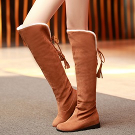 Suede Lace-Up Back Wedge Heel Women's Winter Boots